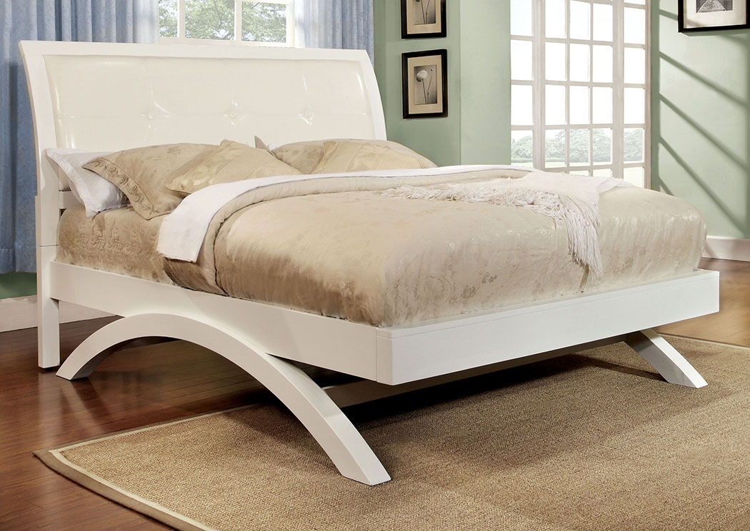 Delano White Queen Sleigh/Platform Bed,Furniture of America