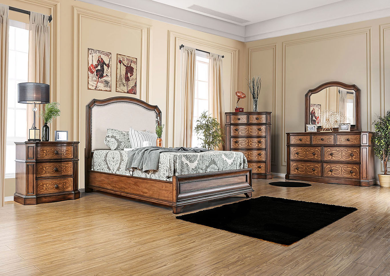 Emmaline Warm Chestnut Upholstered Platform Queen Bed,Furniture of America