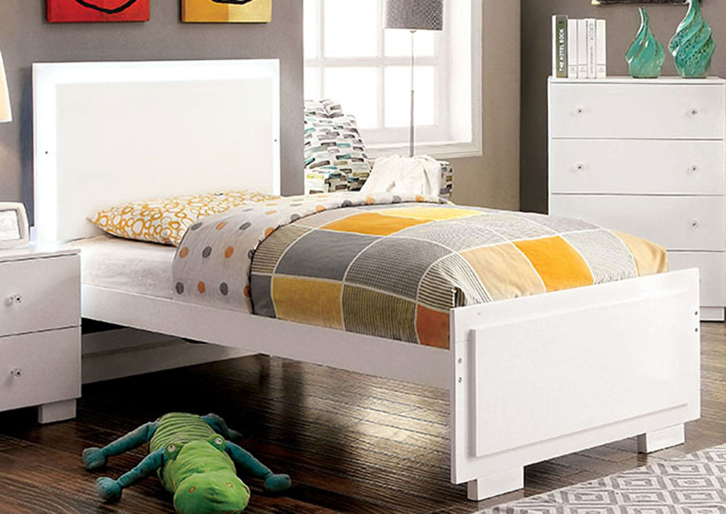 Lizbeth White Twin Platform Bed,Furniture of America
