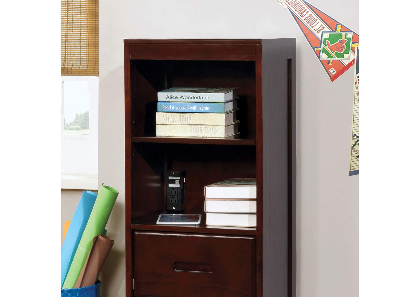 Pearland Dark Walnut Bookcase,Furniture of America