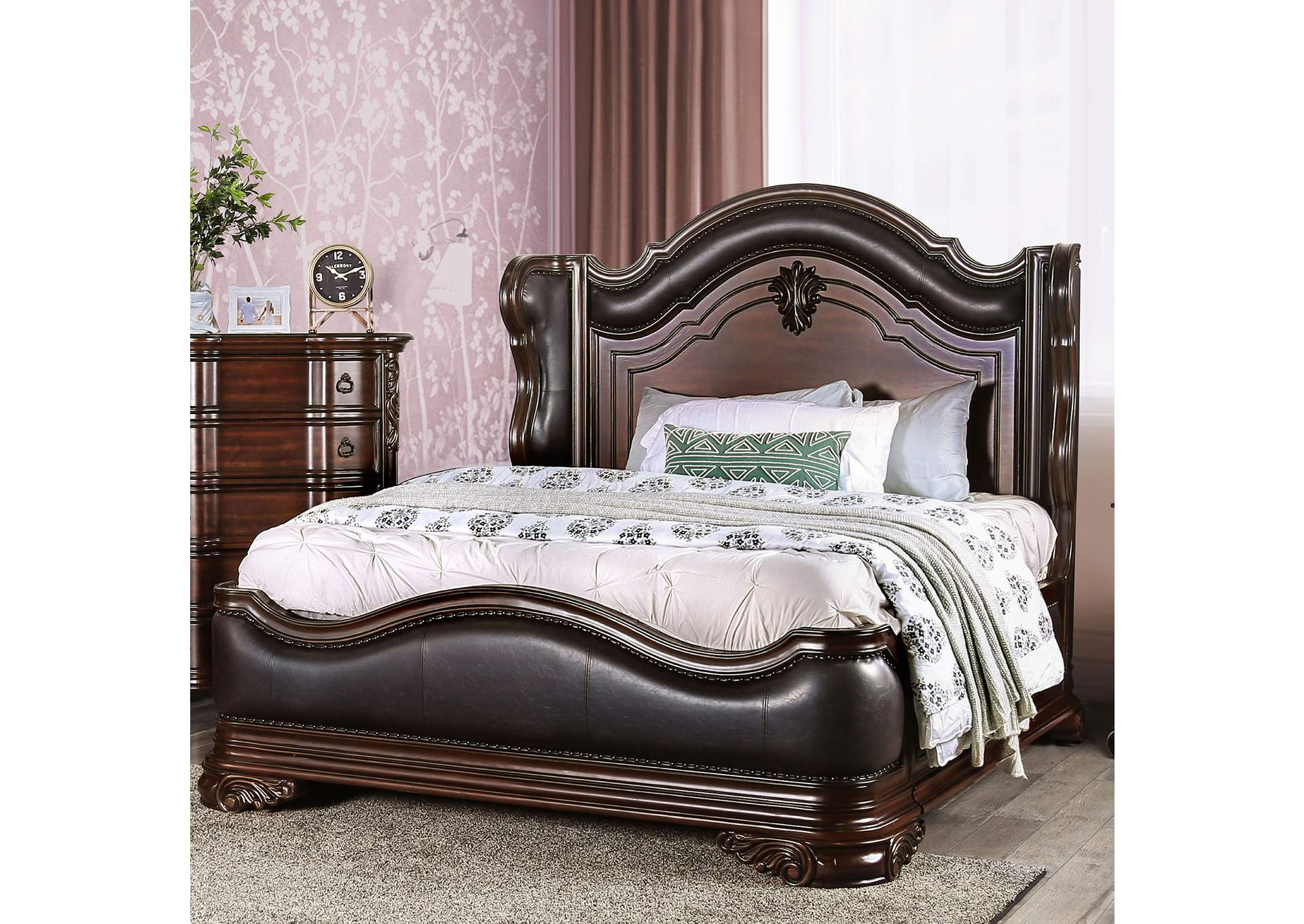 Arcturus Brown Cherry Upholstered Platform Queen Bed,Furniture of America