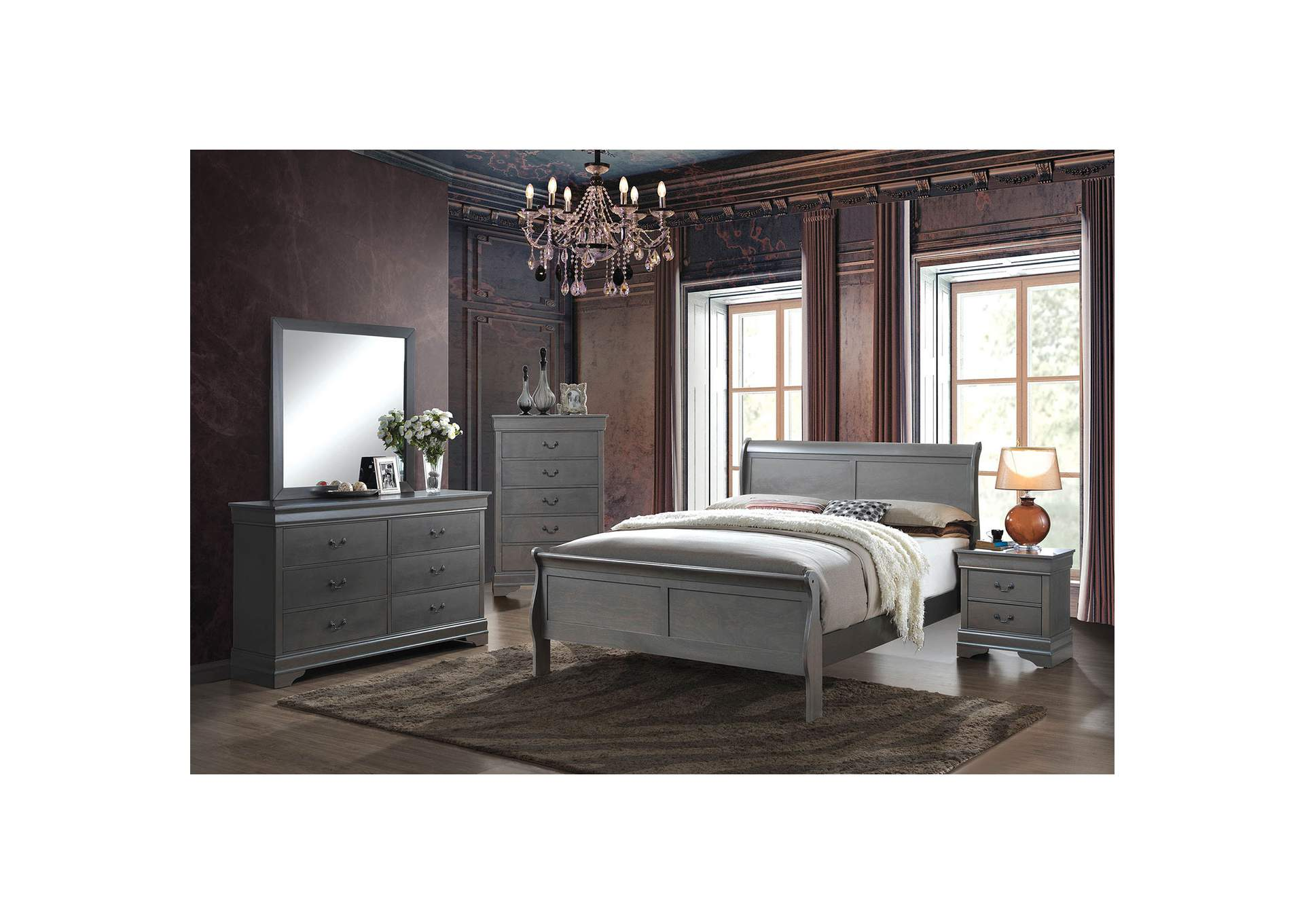 Louis Philippe III Gray Full Sleigh Bed w/Dresser and Mirror,Furniture of America