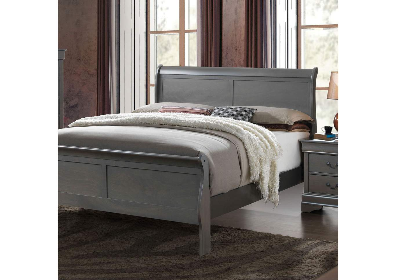 Louis Philippe III Gray Queen Sleigh Bed,Furniture of America