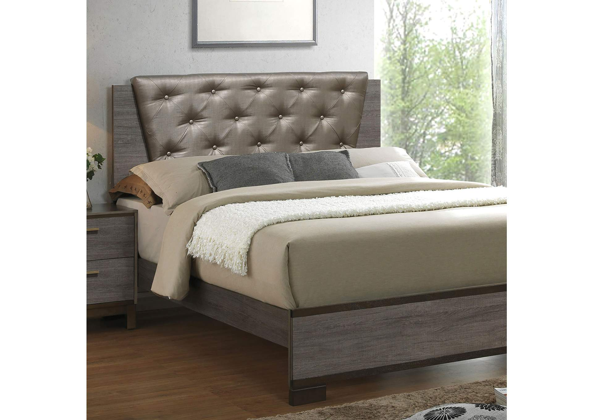 Manvel Antique Gray Upholstered Platform Queen Bed w/Exposed Wood Panel,Furniture of America