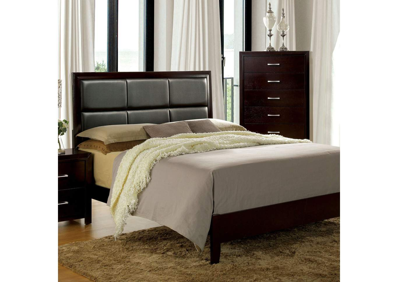 Janine Espresso Queen Upholstered Bed,Furniture of America