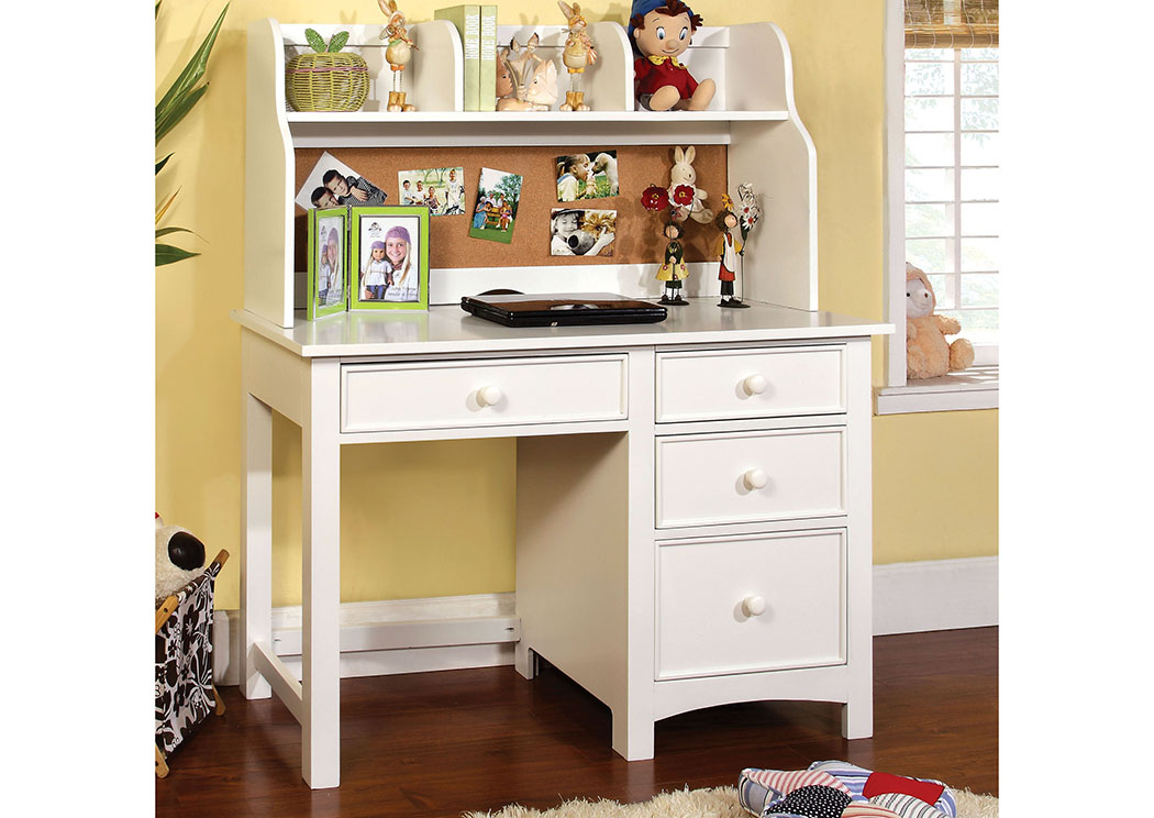 Omnus White Desk w/Hutch,Furniture of America