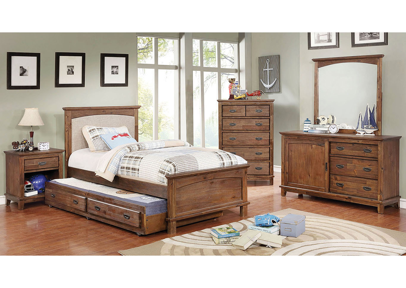 Colin Cherry/White Twin Bed,Furniture of America