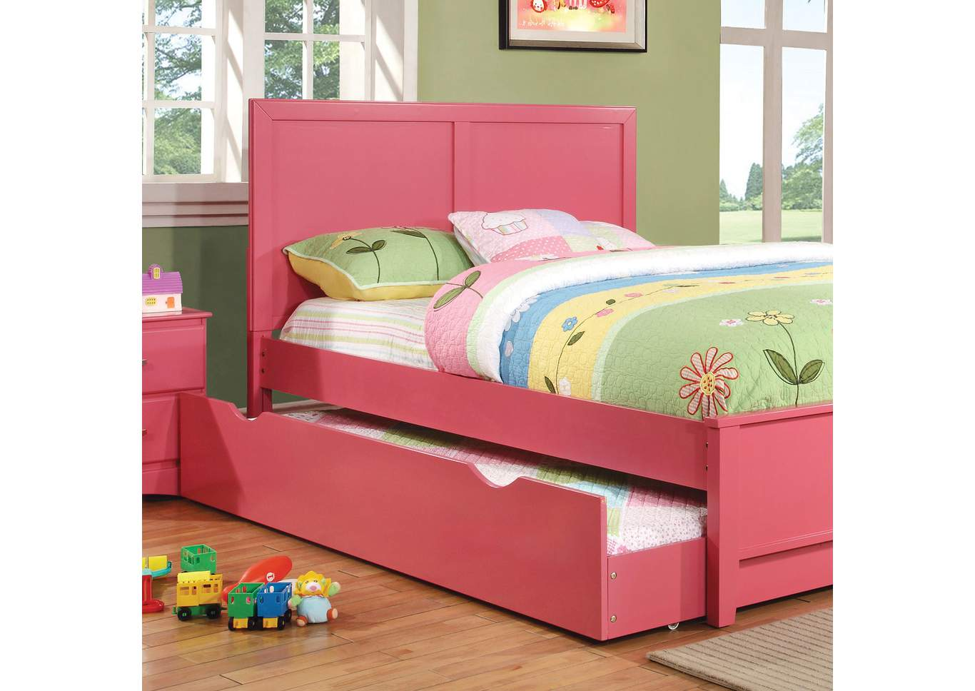 5th Avenue Furniture - MI Prismo Pink Full Platform Trundle Bed