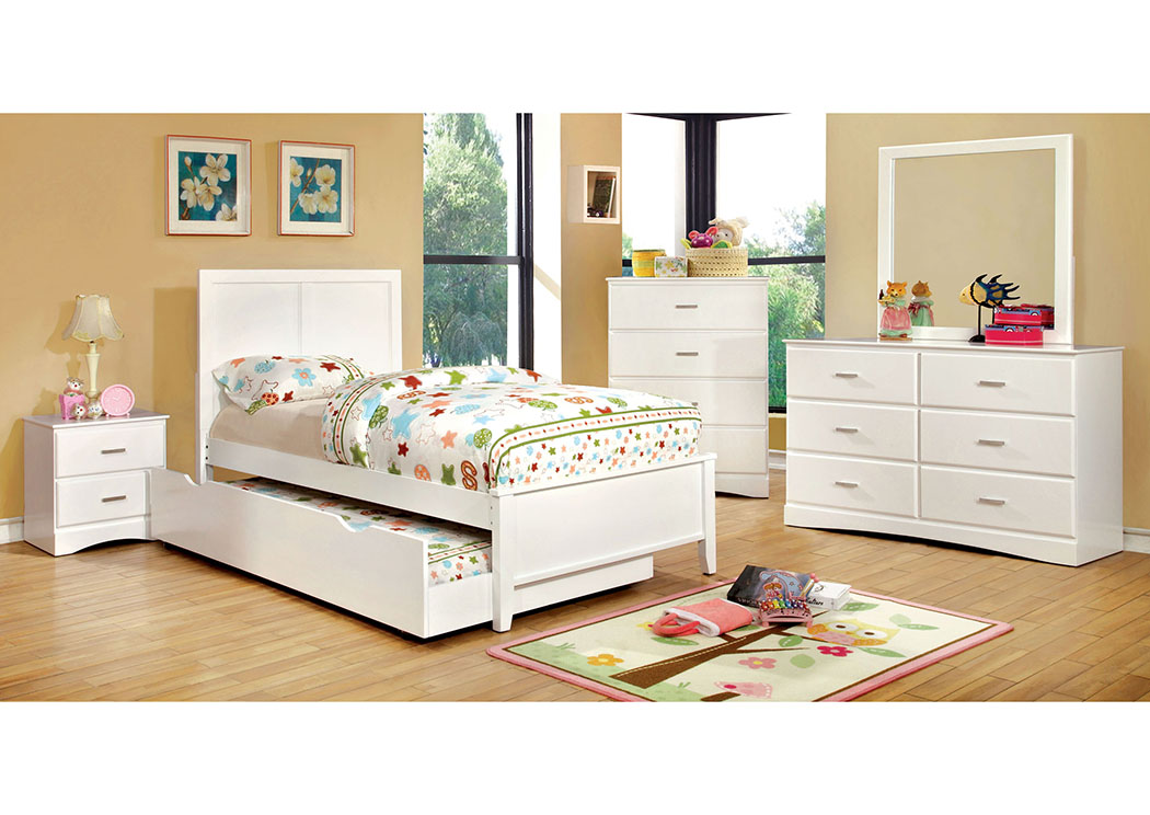 Prismo White Twin Platform Trundle Bed,Furniture of America TX