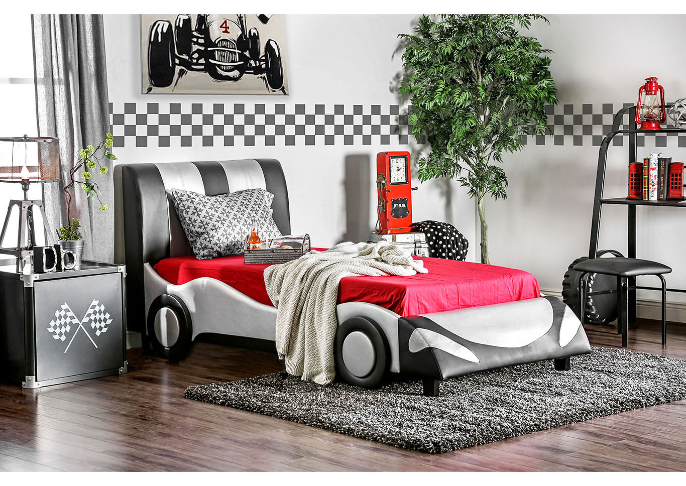 Super Racer Silver/Black Leatherette Twin Race Car Bed,Furniture of America
