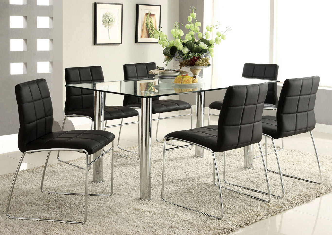 Beautiful Furniture Oahu #13 - Oahu Chrome Glass Top Dining Table W/4 Black Side Chairs,Furniture Of  America