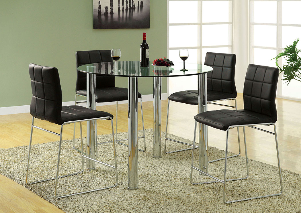 Kona II Black Glass Top Round Counter Height Table W/4 Black Counter Height  Chairs
