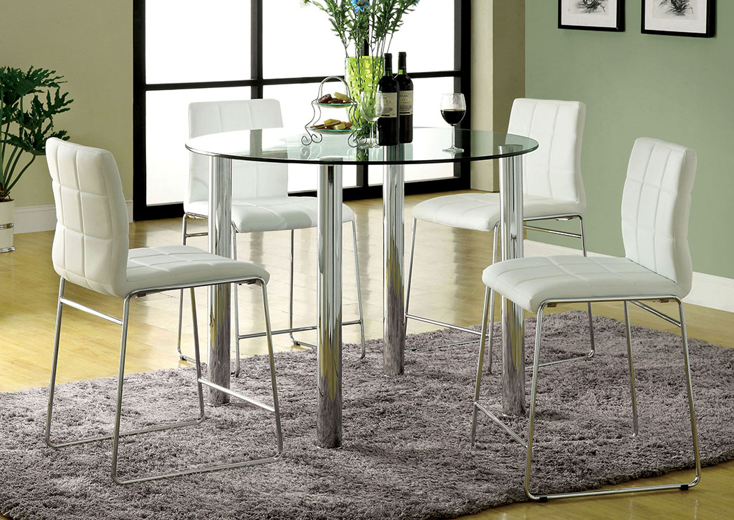 Kona II Black Glass Top Round Counter Height Table W/4 White Counter Height  Chairs