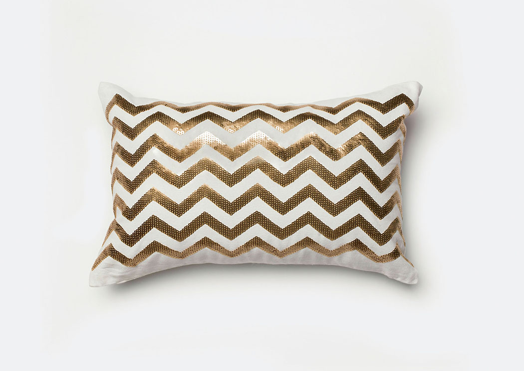 Alyssia White/Gold Pillow,Furniture of America