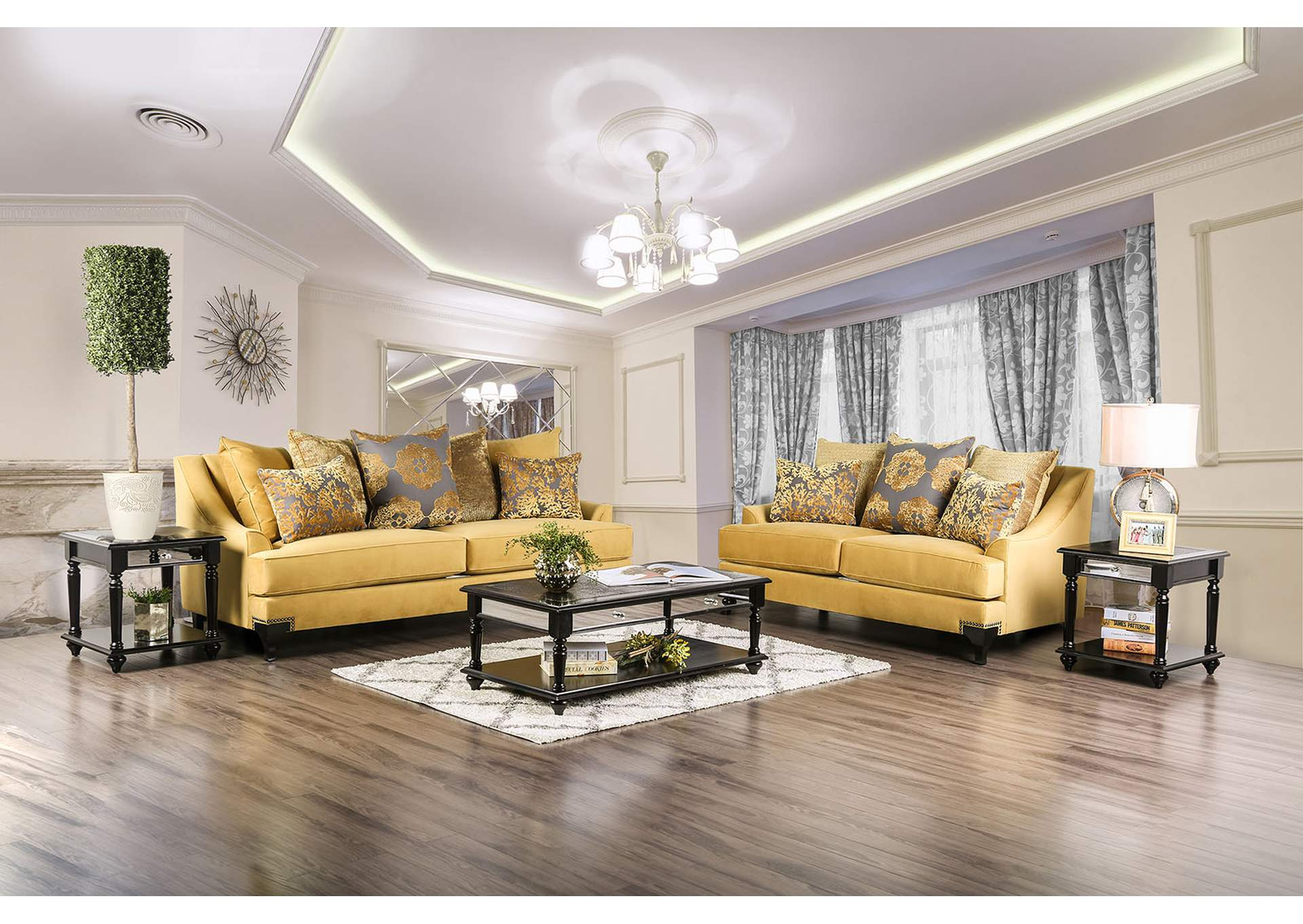 Viscontti Gold Sofa and Loveseat,Furniture of America