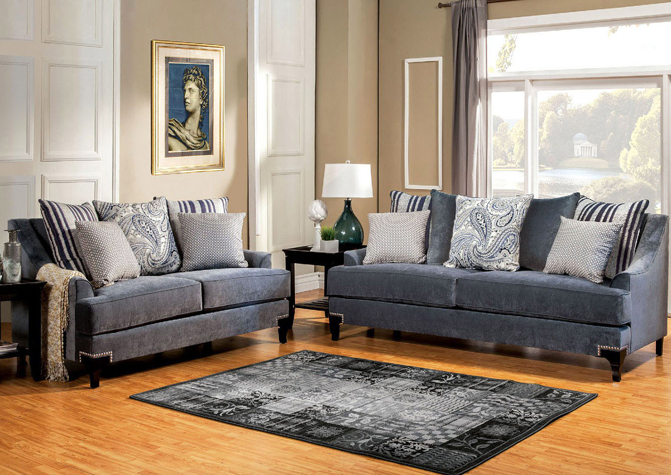 Sweet Home Furniture by Niposul Vittoria Slate Blue Sofa and Loveseat