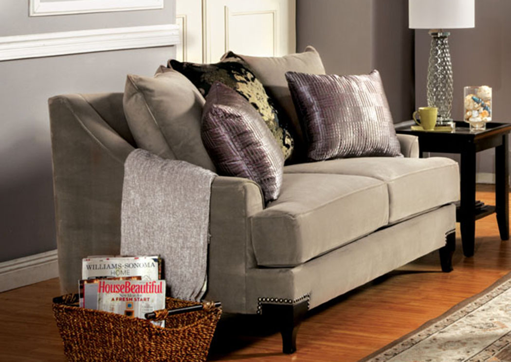 Vittoria Cocoa Brown Loveseat,Furniture of America