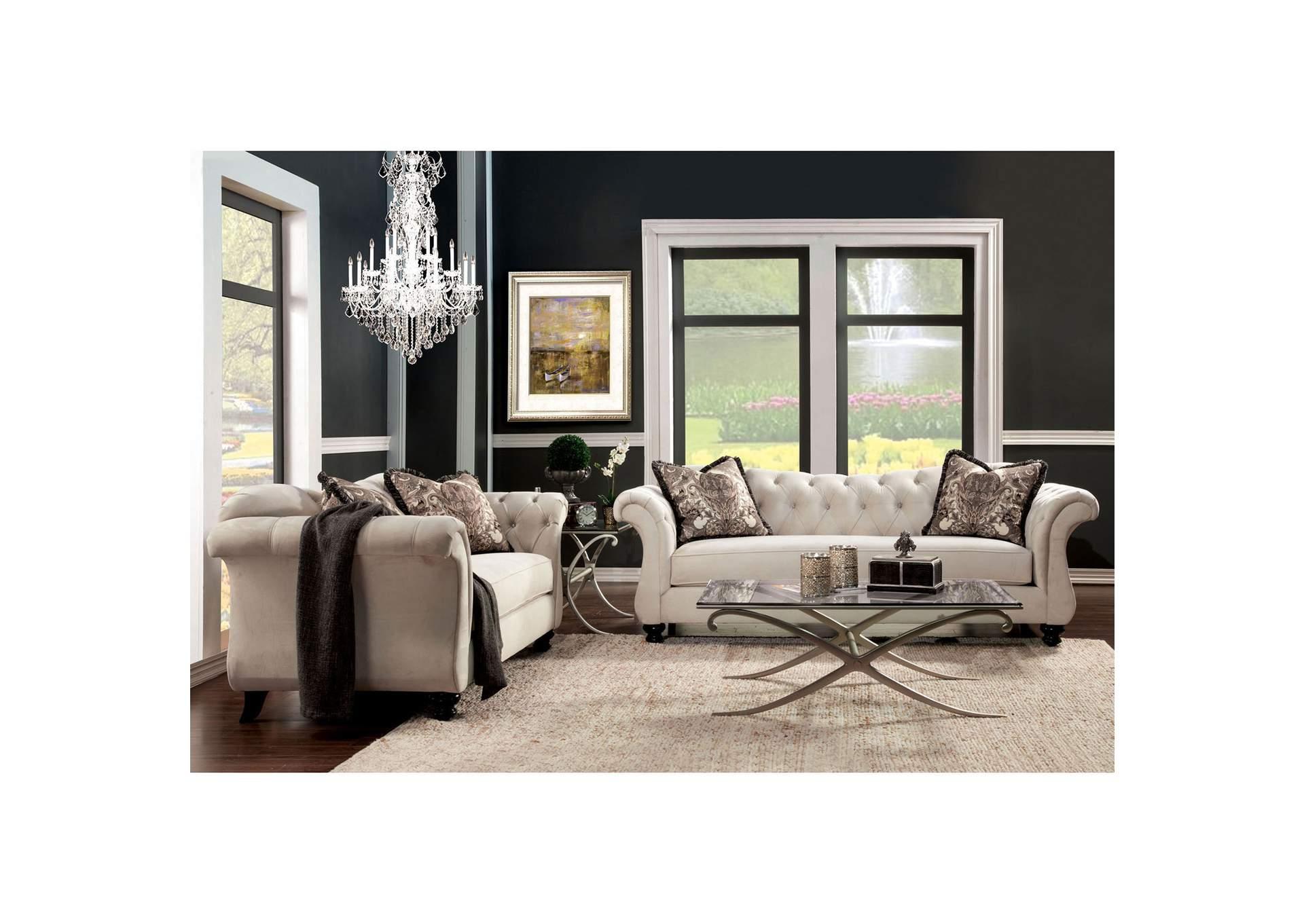 Antoinette Beige Sofa And Loveseat,Furniture Of America