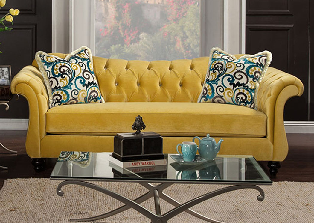 Flamingo Furniture Antoinette Royal Yellow Velvet Sofa W