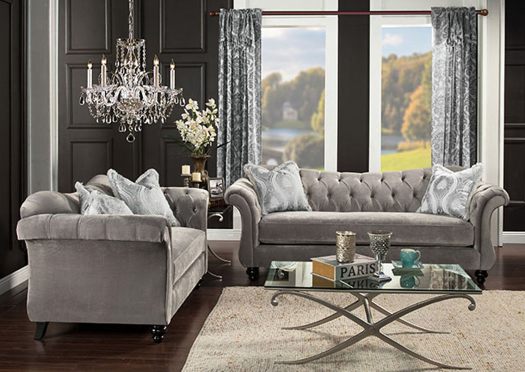 Feel At Home Antoinette Dolphin Gray Velvet Sofa and Loveseat w/Pillows