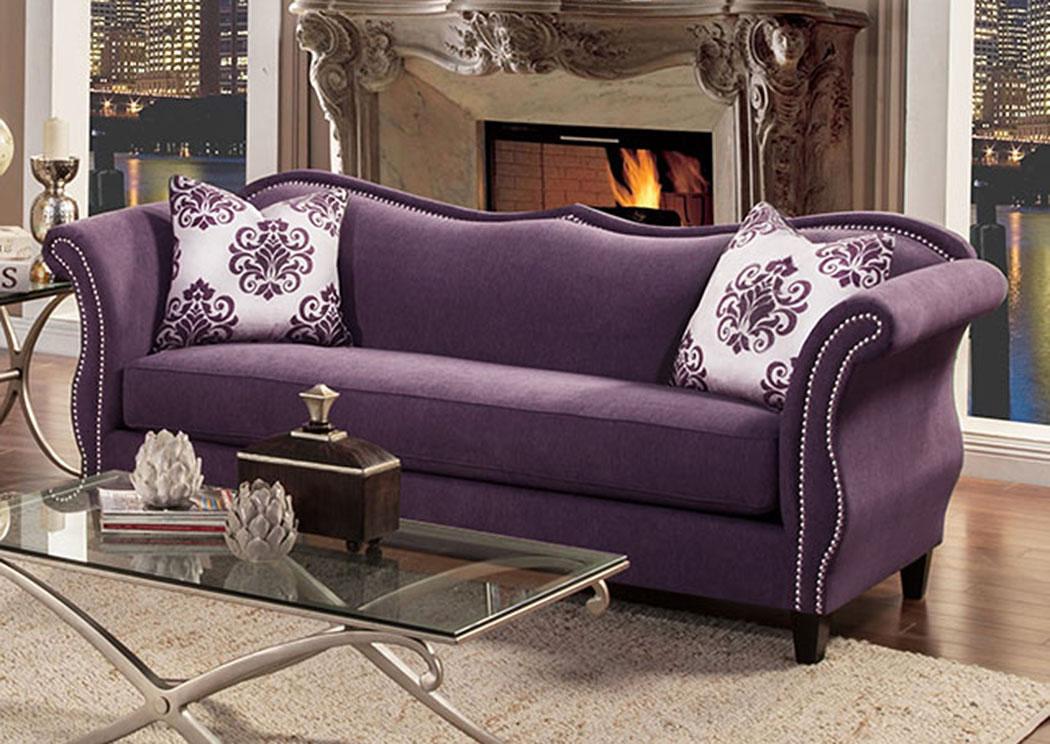 zaffiro lavender nailhead trim sofafurniture of america - Nailhead Trim Sofa