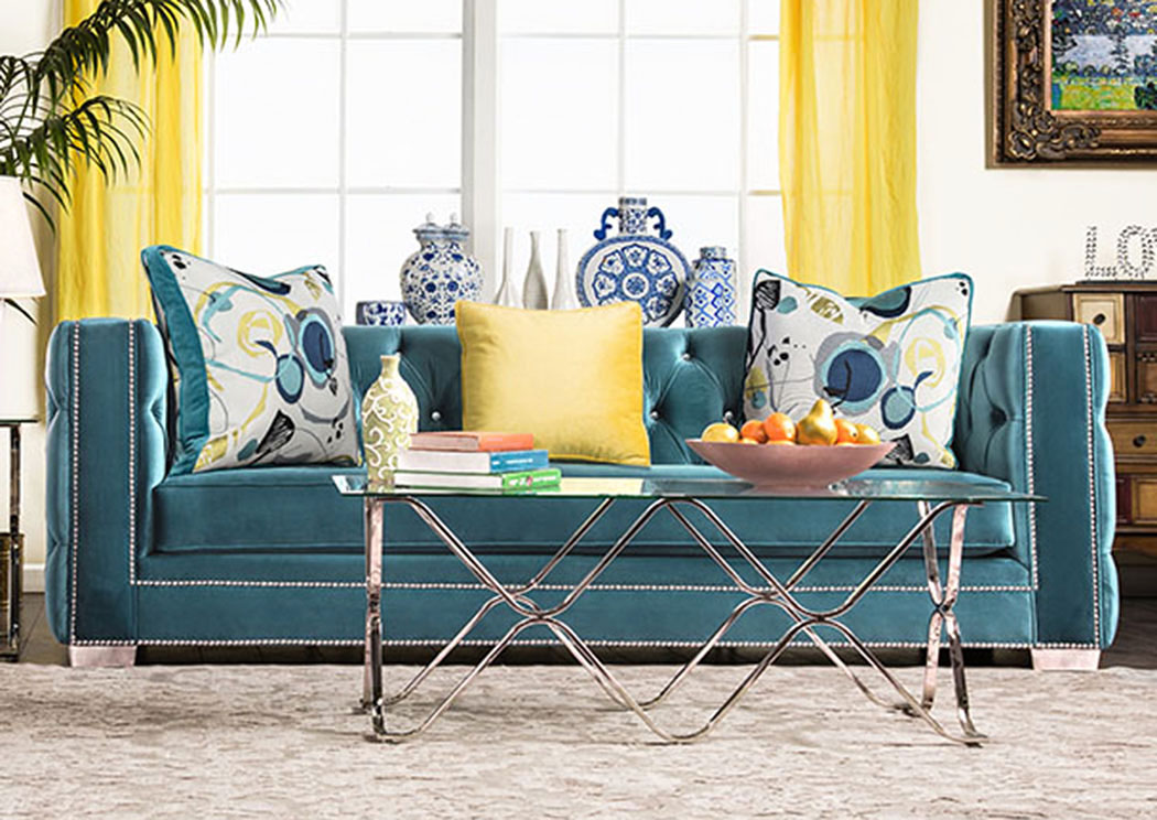 Salvatore Turquoise Velvet Sofa W/Pillows,Furniture Of America