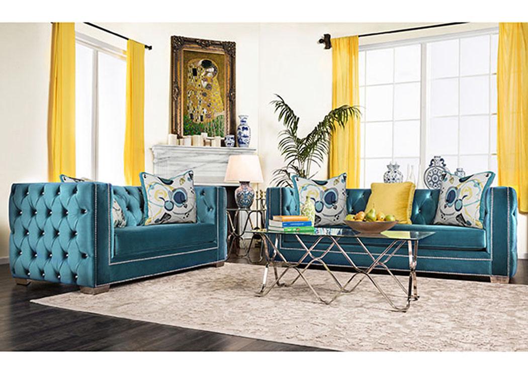 kensington furniture salvatore turquoise velvet sofa and loveseat w