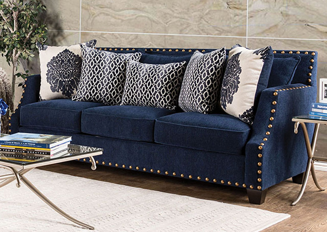 280011 Cornelia Navy Nailhead Trim Sofa W Pillows