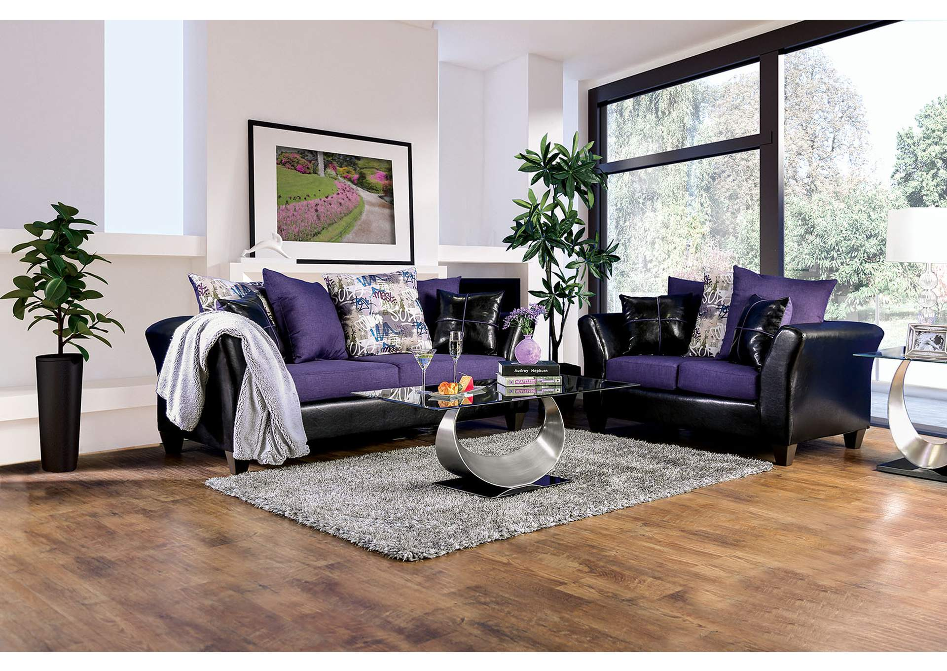 Best Buy Furniture And Mattress Kaelyn Black Purple Loveseat