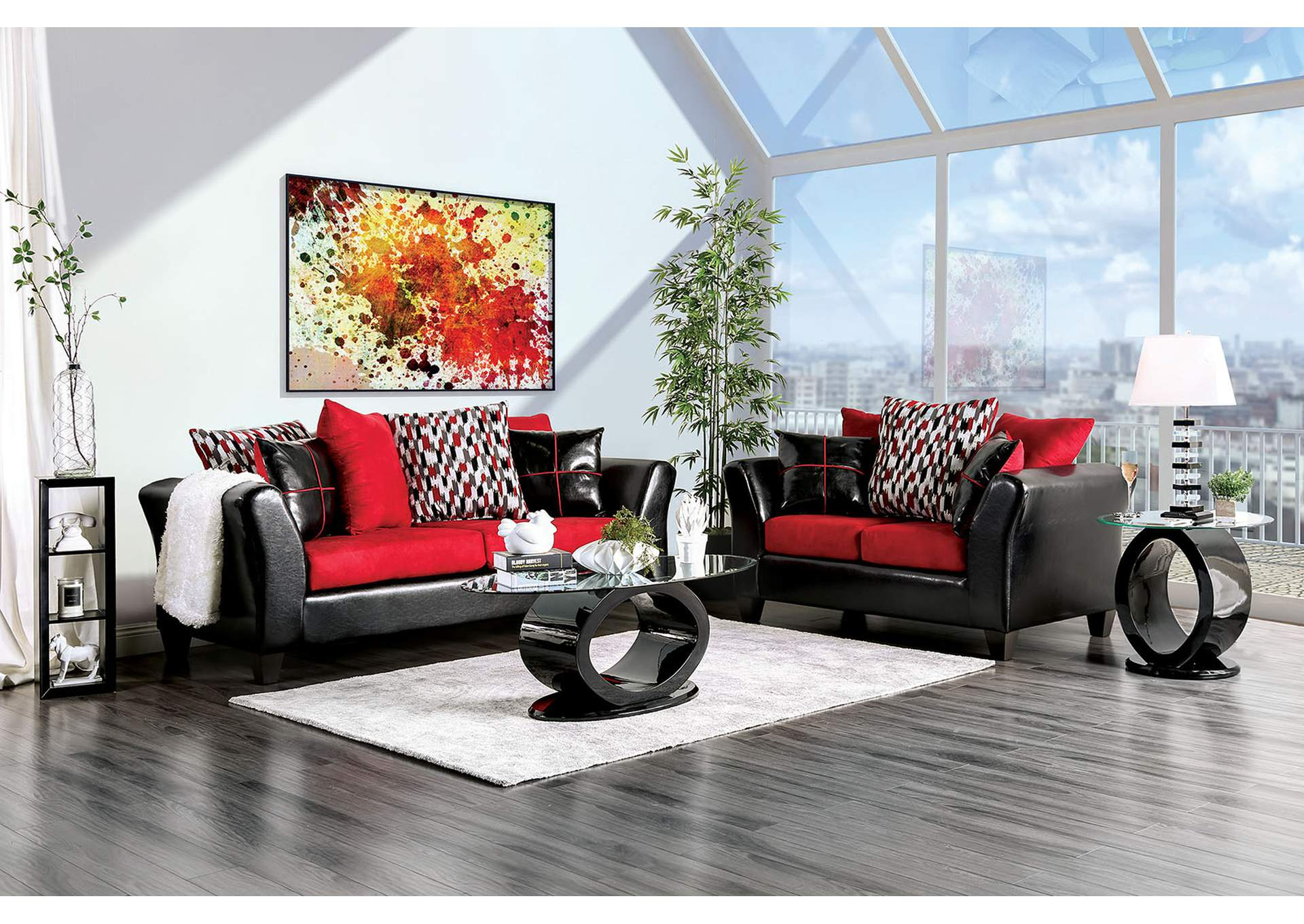 Braelyn Black/Red Sofa,Furniture of America
