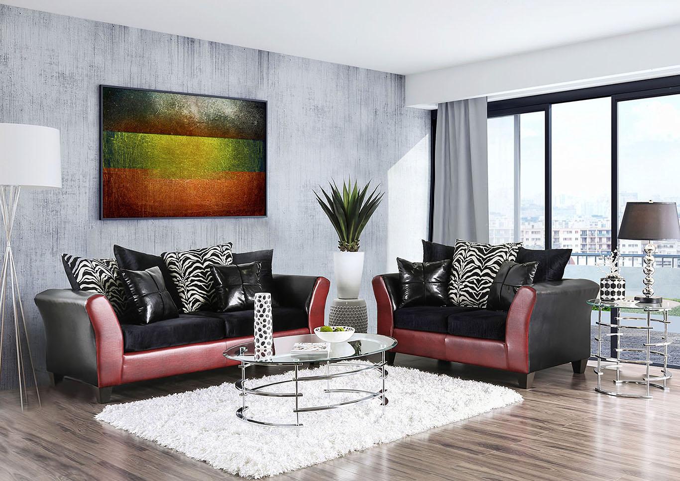 598818 Kaelyn Black/Red Sofa