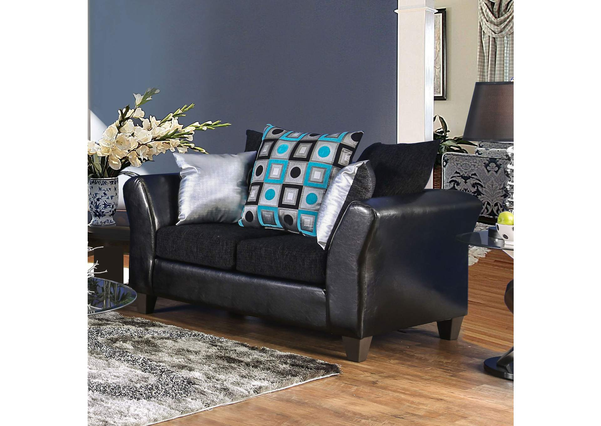 Kaelyn Black Loveseat,Furniture of America