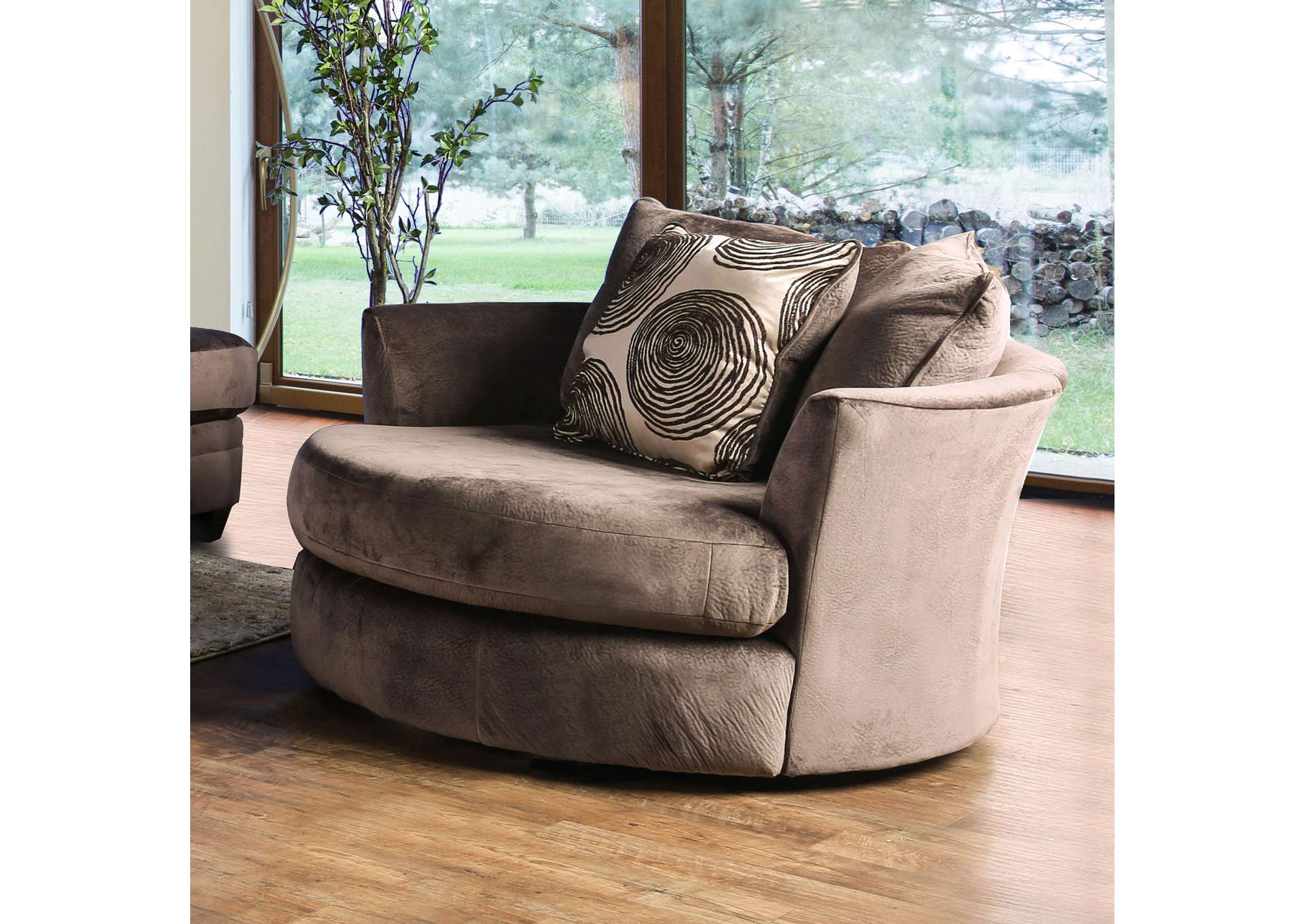 Merveilleux Bonaventura Brown Swivel Chair,Furniture Of America
