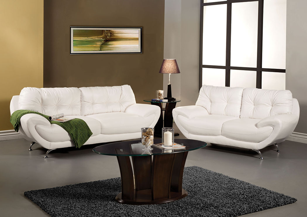 Volos White Sofa And Loveseat,Furniture Of America