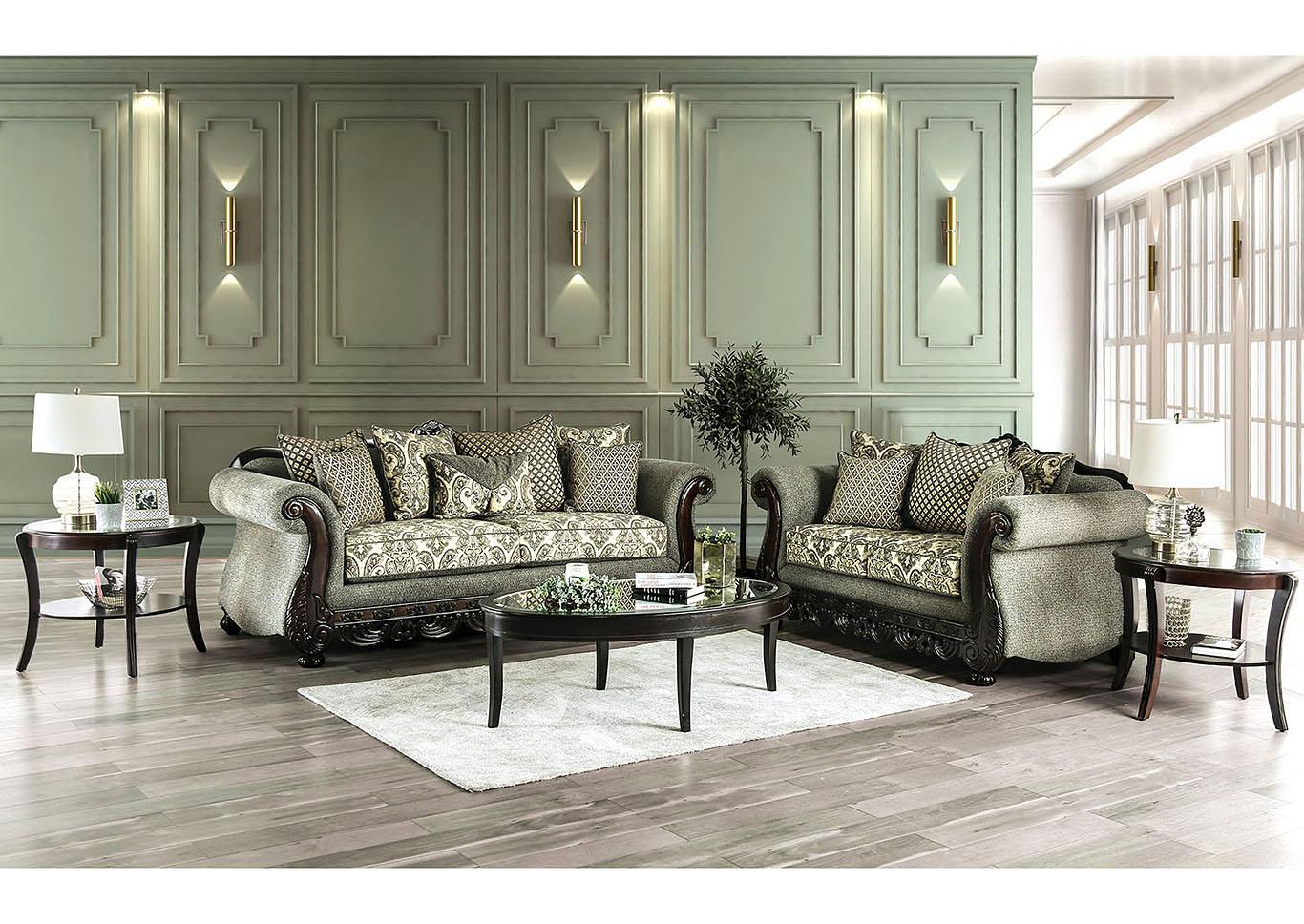 Ideal Furniture San Antonio West Justina Gray Sofa & Loveseat