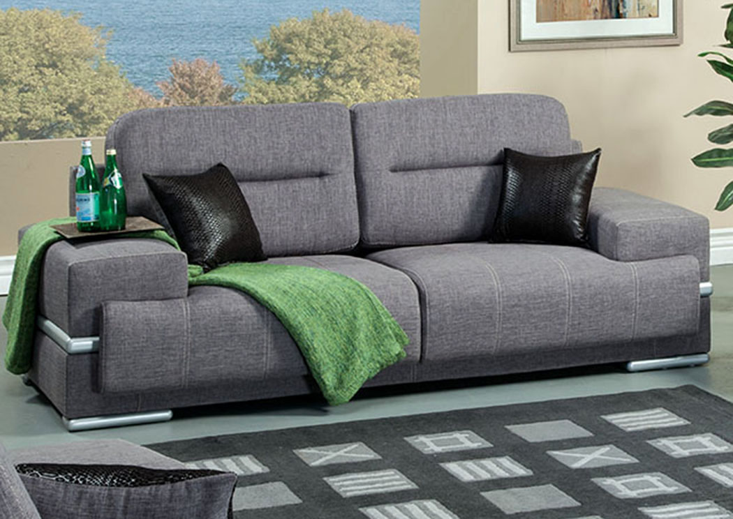 In home furniture thessaly gray sofa w pillows for Stratford home pillows living room furniture