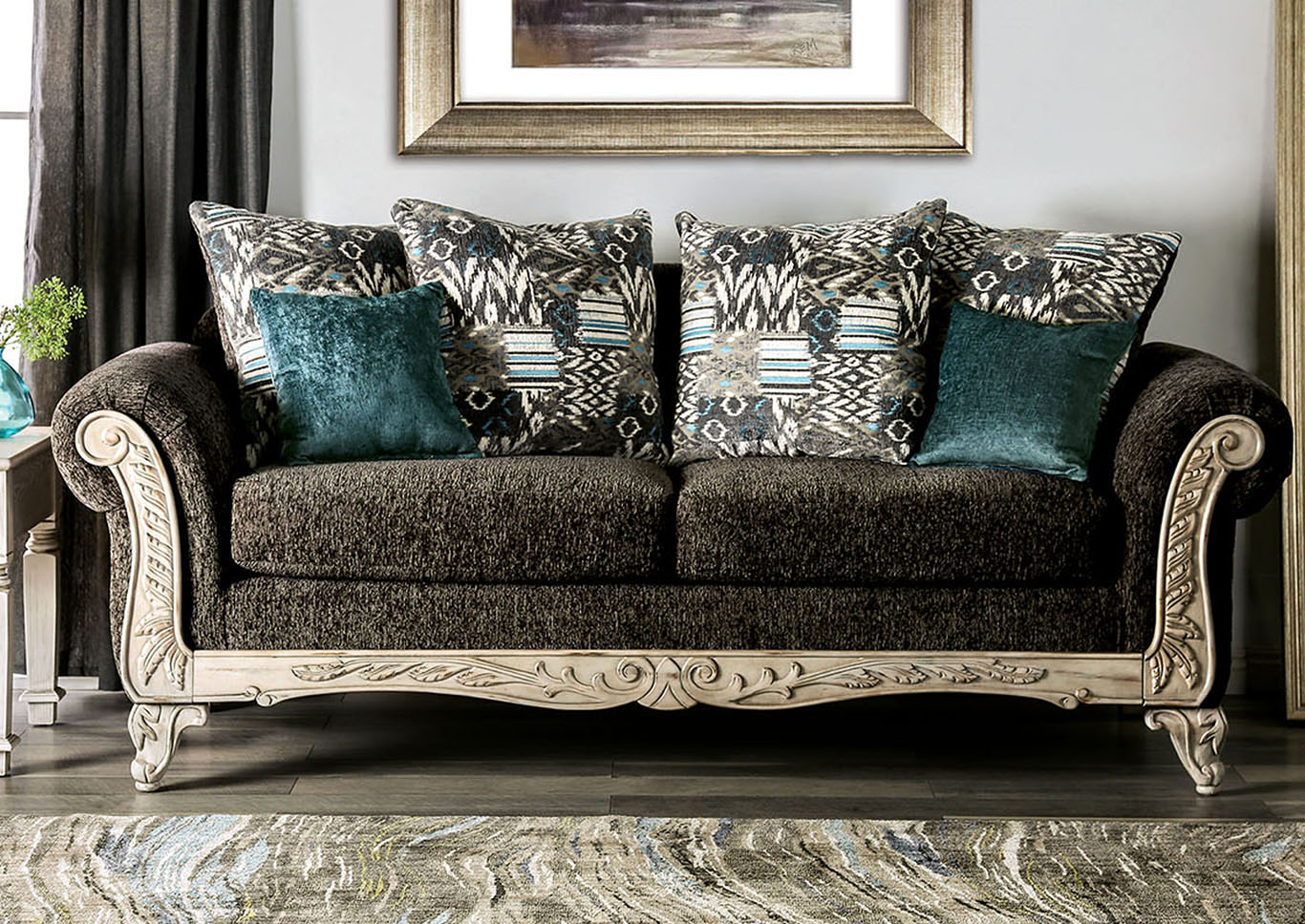 Peaceful Living Furniture Cerise Black Sofa & Loveseat