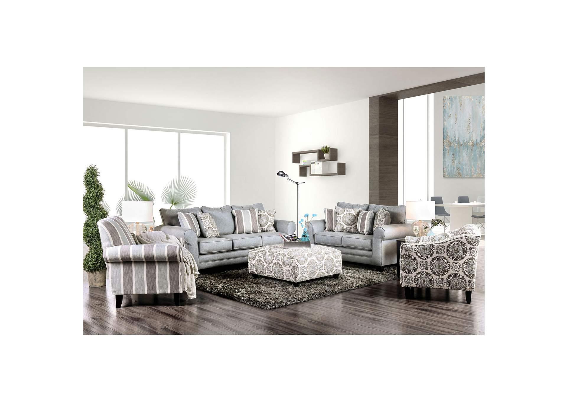 K K Custom Furniture Misty Blue Gray Ottoman