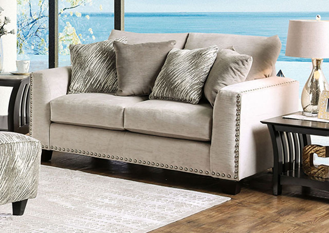 Stefano Light Mocha Loveseat,Furniture of America