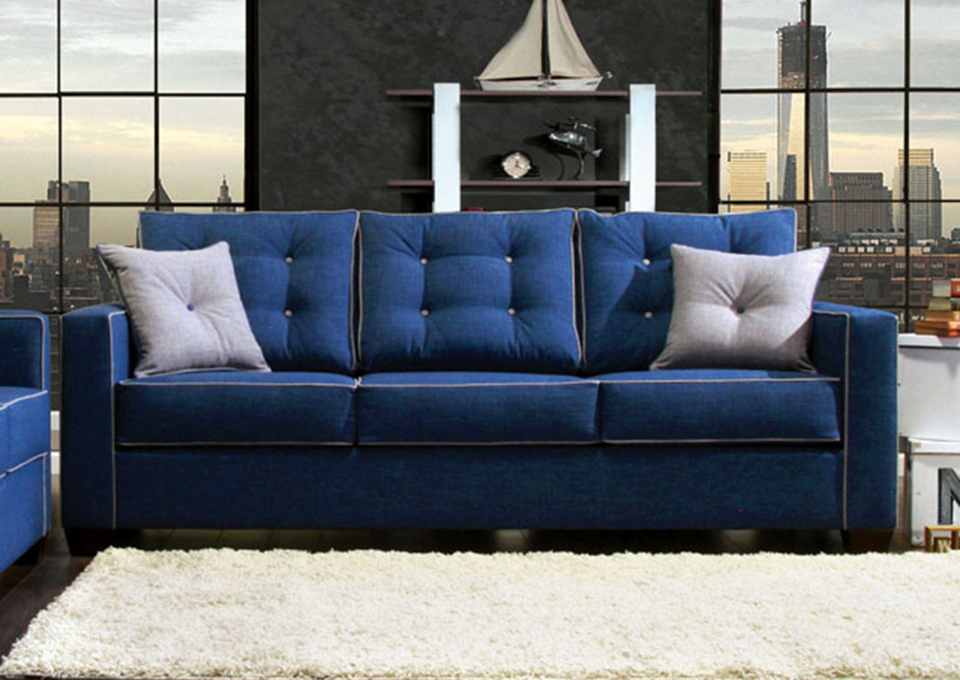 Ravel I Blue Sofa w/2 pcs Pillow,Furniture of America