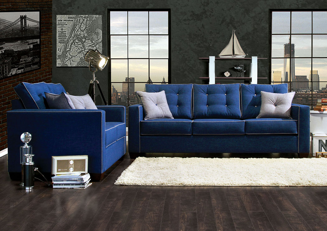 Ravel I Blue Sofa and Loveseat w/4 pcs Blue,Furniture of America