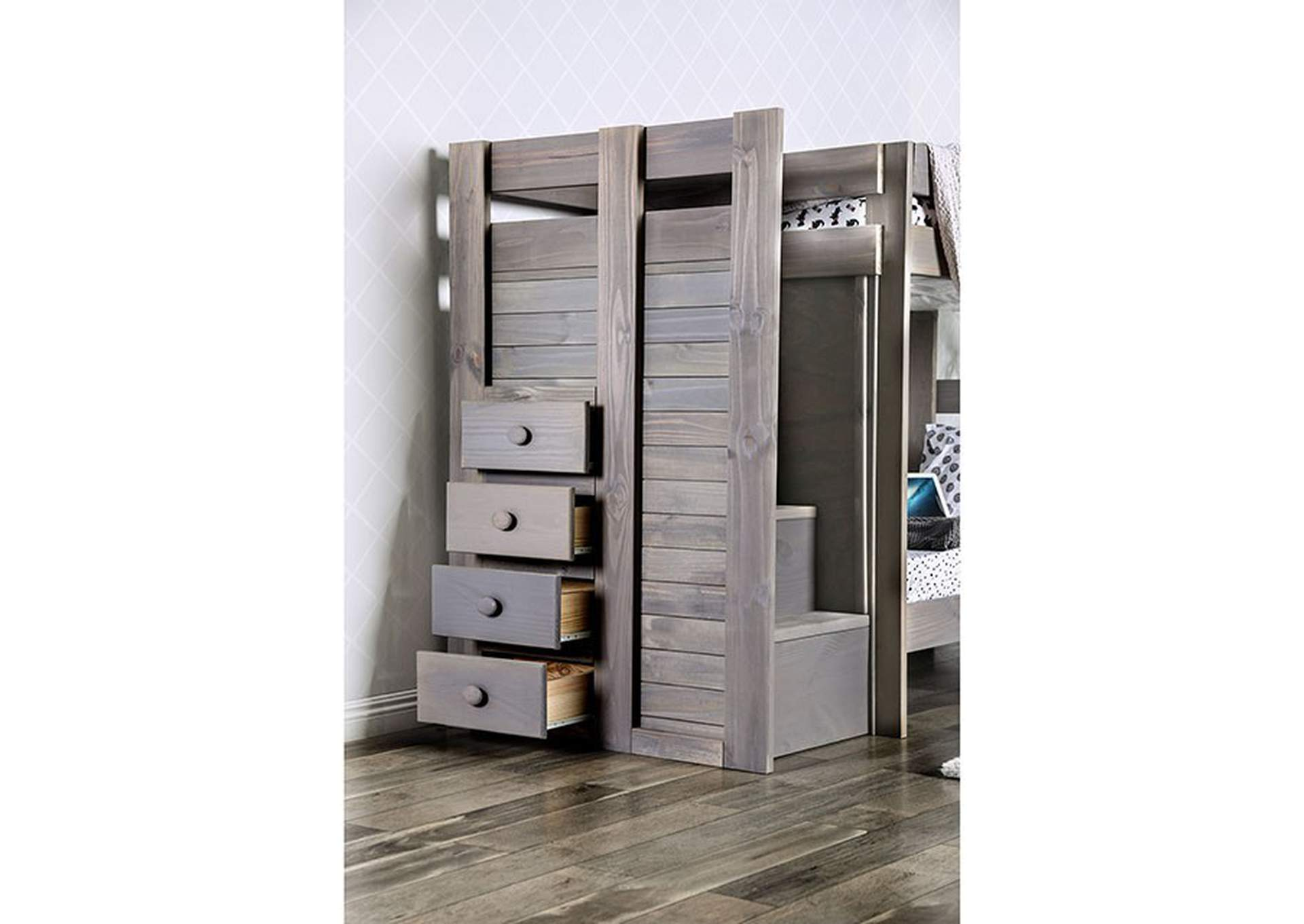 Ampelios Grey Twin/Twin Bunk Bed,Furniture of America