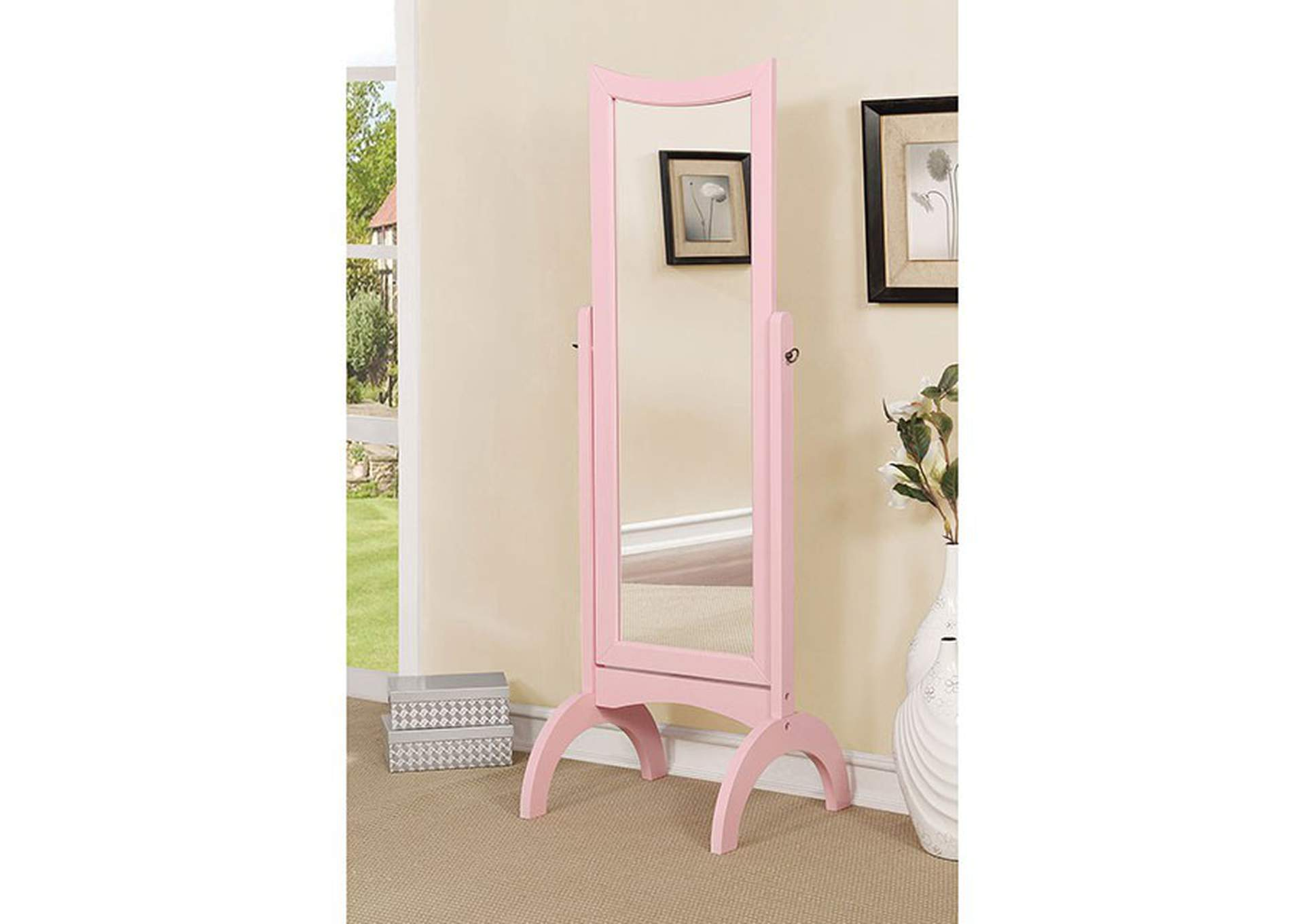 Benita Pink Standing Mirror w/Full Tilt Motion,Furniture of America