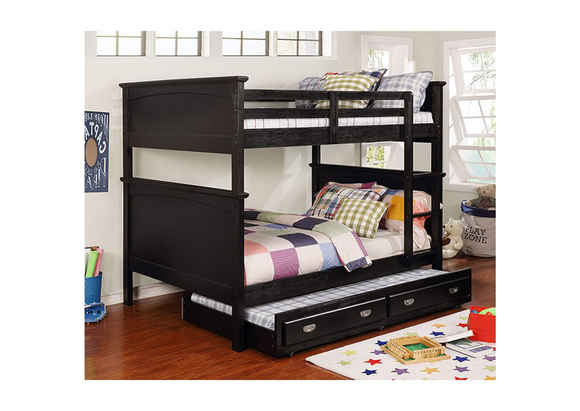 Marci Black Twin/Full Bunk Bed,Furniture of America
