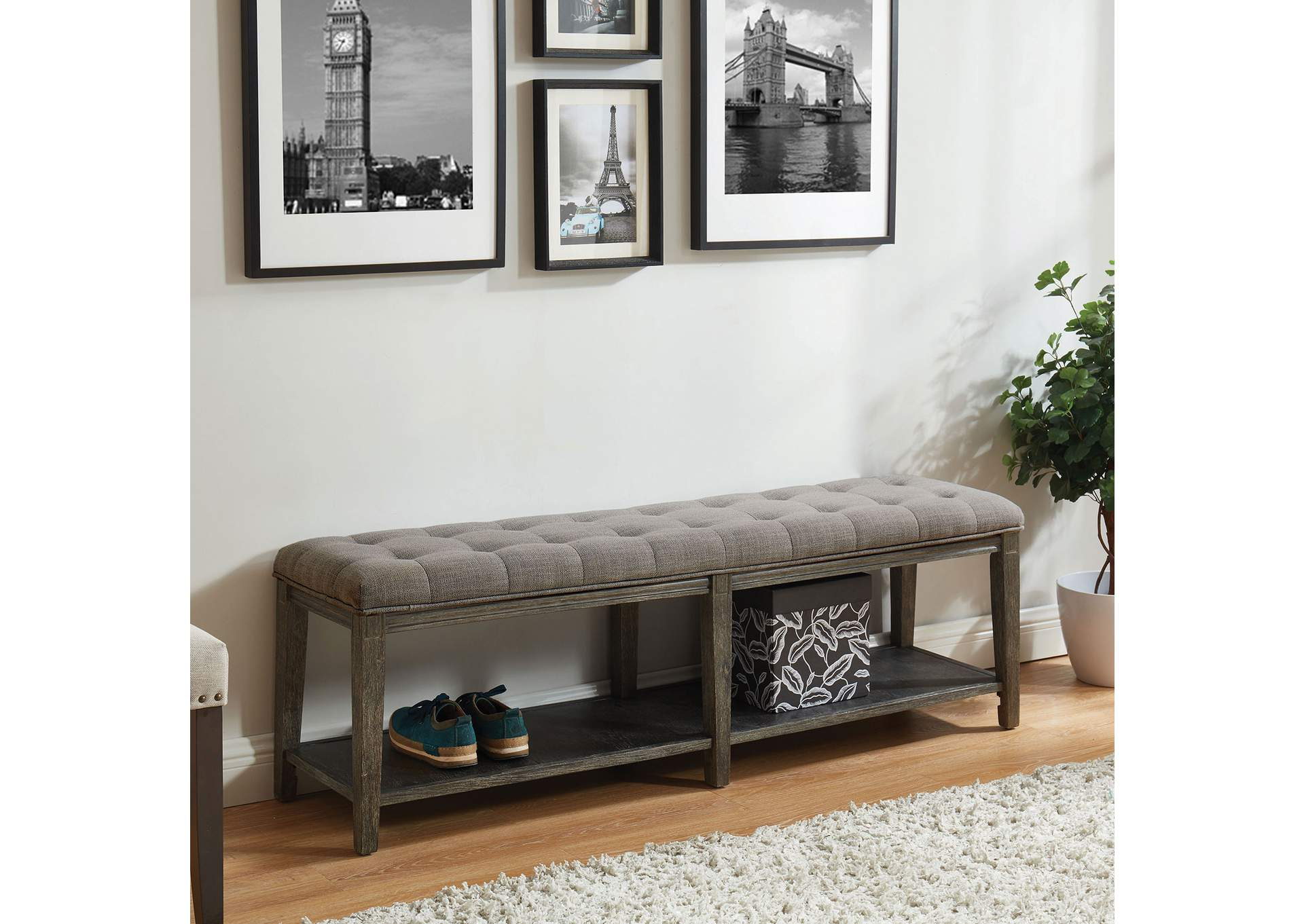 Tayah Gray Upholstered Bench,Furniture of America