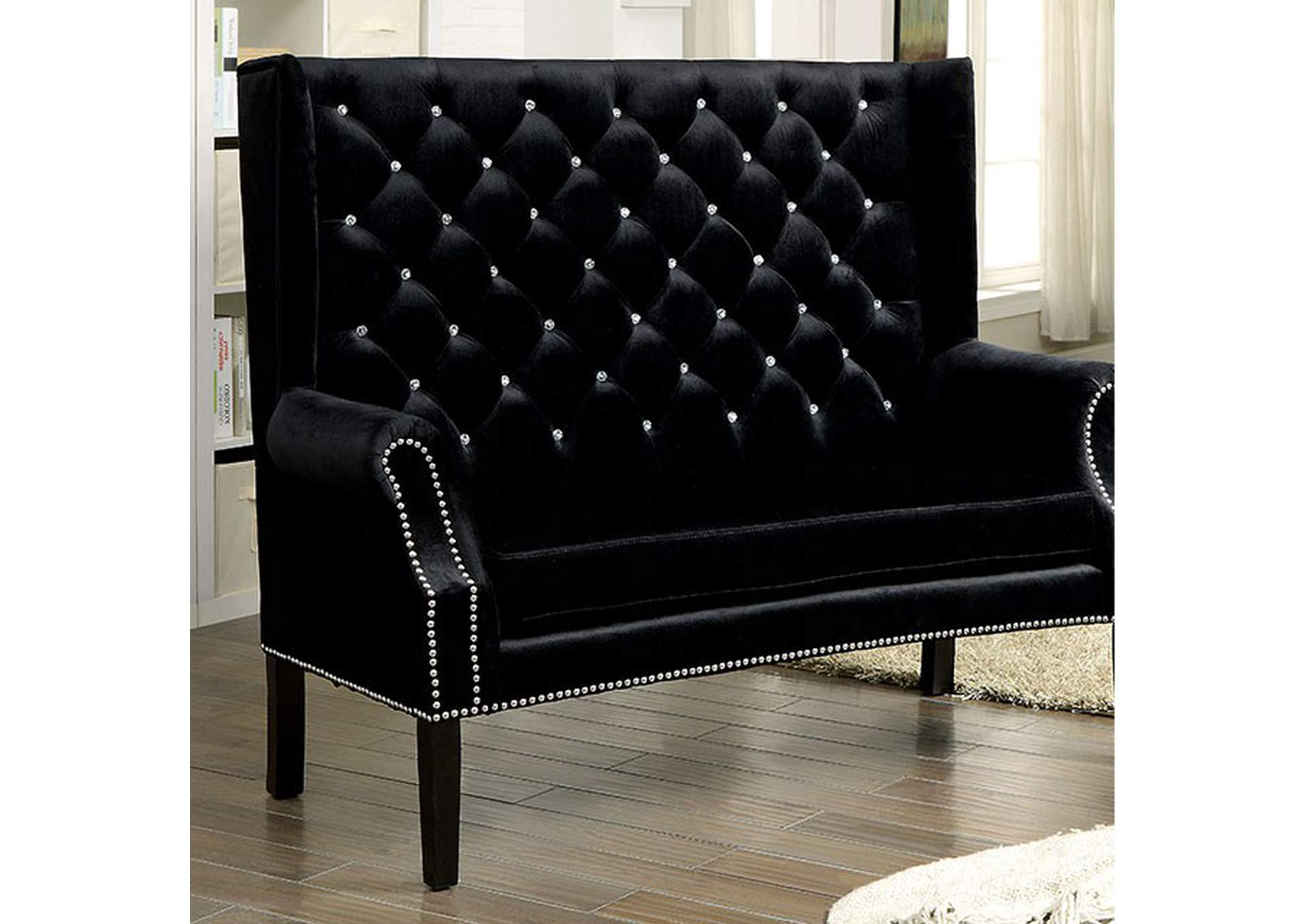 Shayla Black Loveseat Bench,Furniture of America