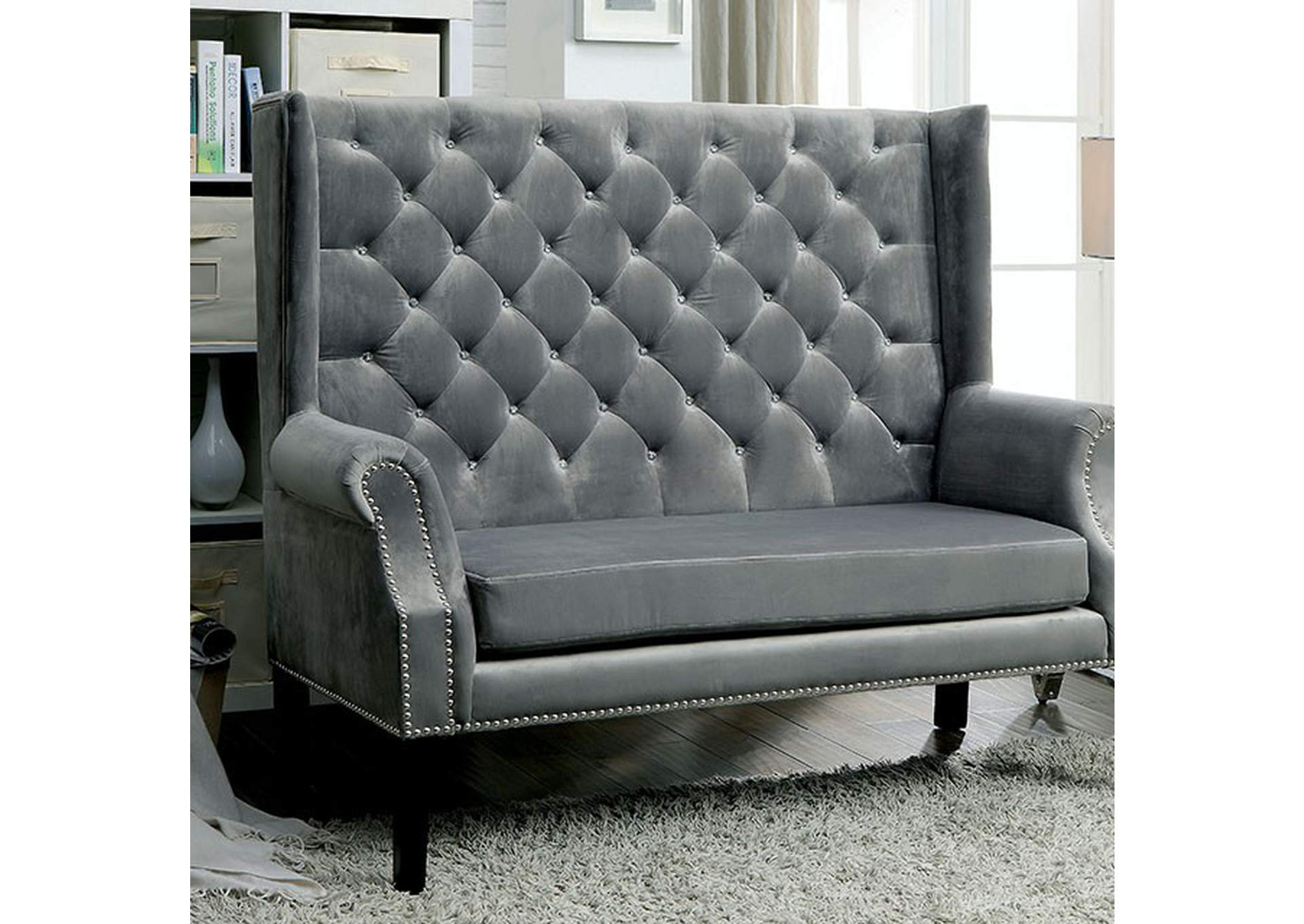 Shayla Gray Loveseat Bench,Furniture of America