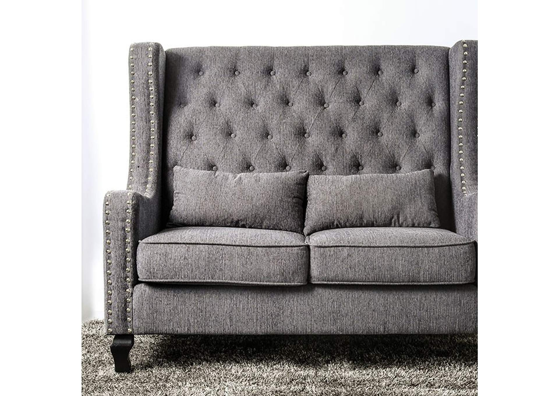 Alicante Grey Loveseat W/ Nailhead Accent,Furniture of America