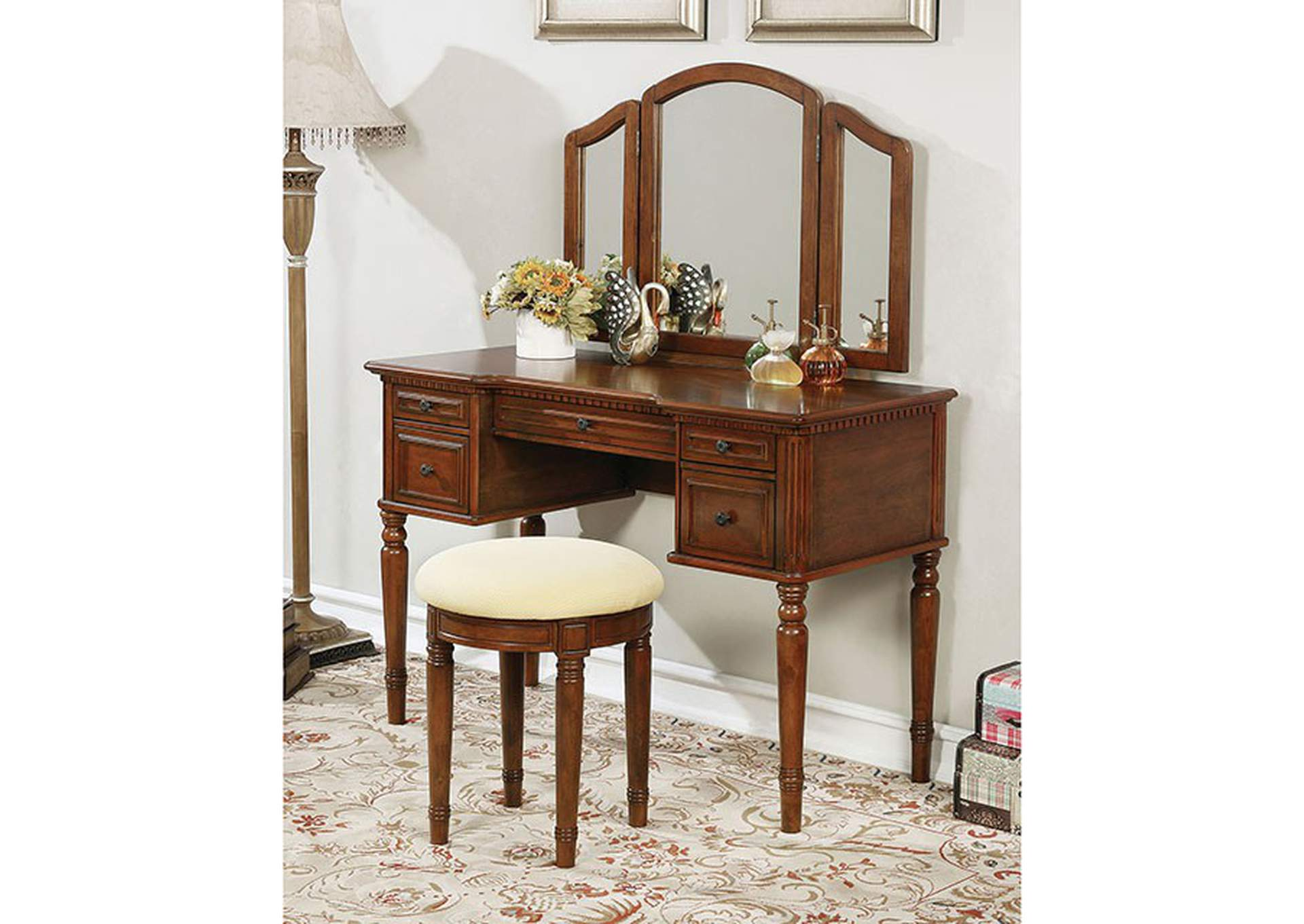 Natalia Brown Vanity Set,Furniture of America