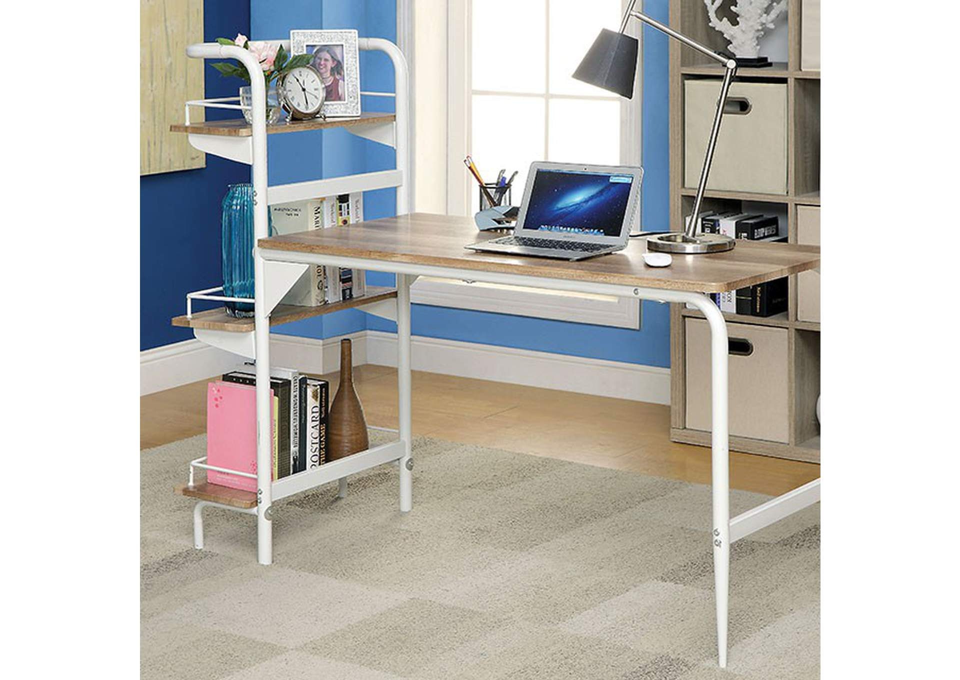 Flamingo Furniture Maisy Chrome Computer Desk W Bookshelf